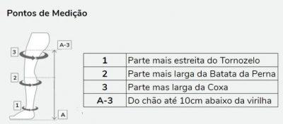 Tabela de medições meia de compressão