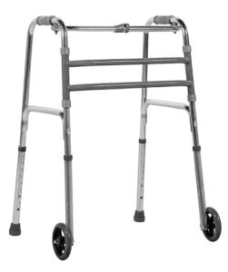 Andador Fixo Dobrável com Rodas - Prata REF: B061520